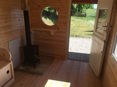 Custom Built Shepherd Hut log burner